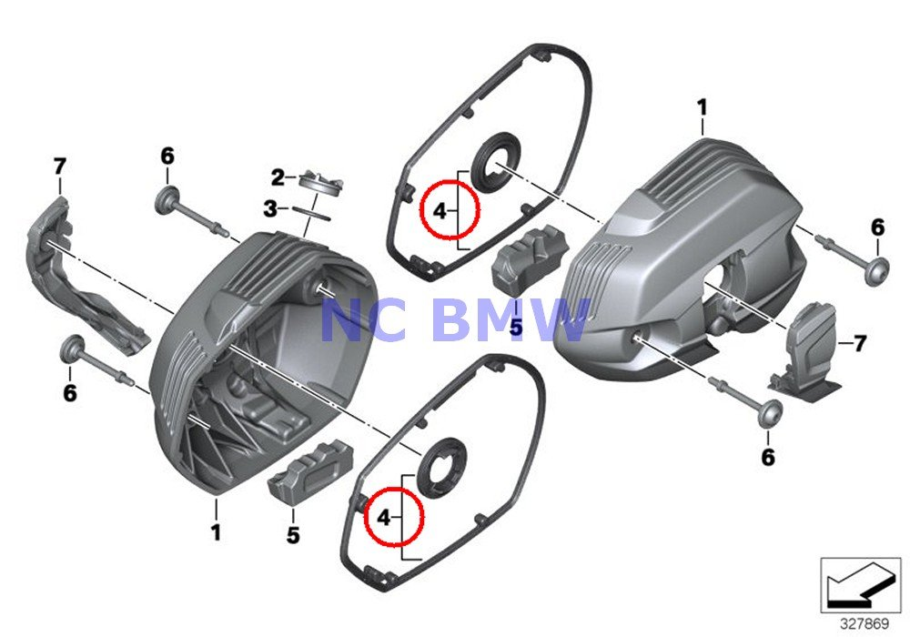 BMW Genuine Motorcycle Cylinder Head Covers Gasket Kit R nine T R1200GS R1200GS Adventure R1200RT R1200R HP2 Sport