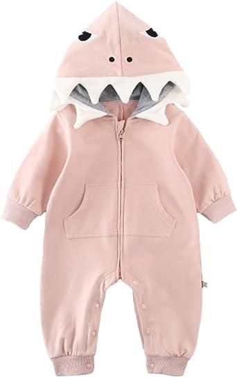 Newborn Toddler Boy Girl 3D Cartoon Shark Hooded Striped Romper Jumpsuit Outfits