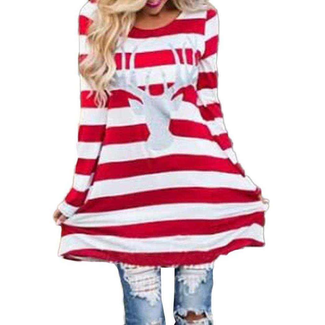 Snowfoller Women Striped Dress, Fashion Long Sleeves Elk Printed Red and White Stripe Dress Round Collar Christmas Elk Casual Dress (XL, Red)