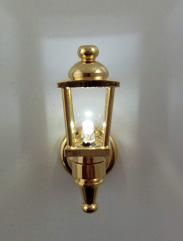 Dollhouse Miniature Battery Operated Brass Coach Wall Lamp