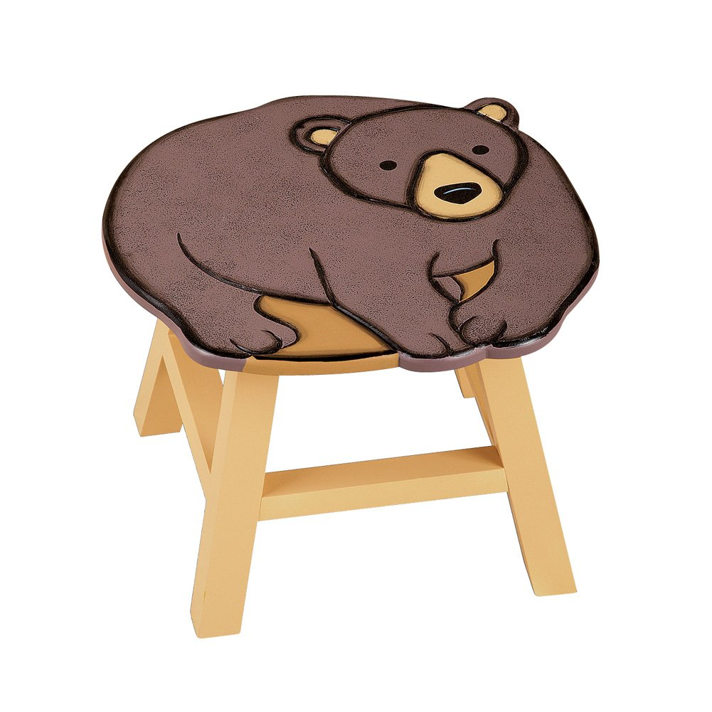 Collections Etc Decorative Animal Wooden Foot Stool, Bear