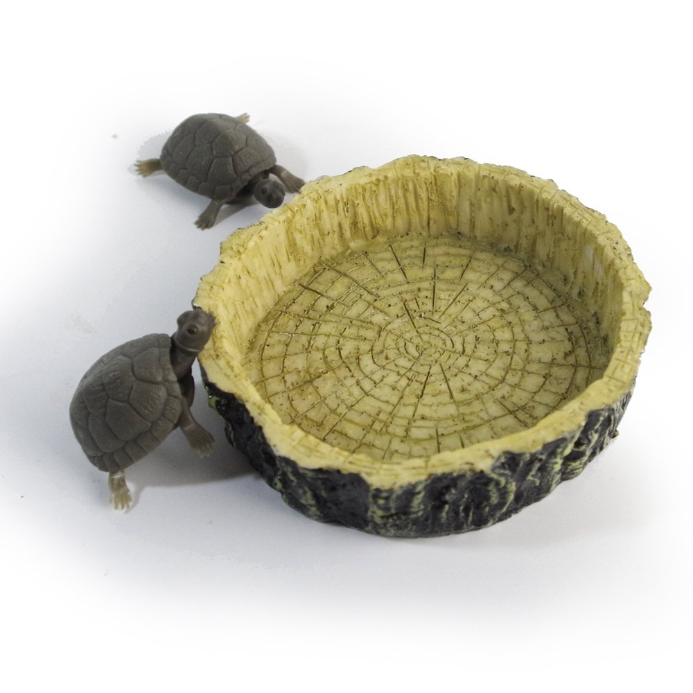 Round Resin Wood Texture Reptile Food Bowl Tortoise Water Dish Amphibians Feeding Dish, Ashtray Dish