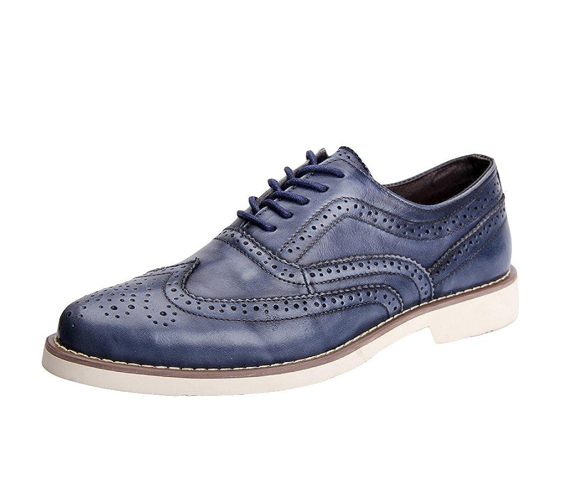 LEDLFIE Bullock Herren Echtleder Schuhe Bullock LEDLFIE Carved Vintage Herren Lederschuhe Blau 0a30a7