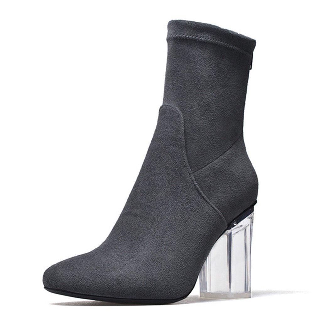 Nine Seven Suede Leather Women's Round Toe Exquisite Heel Elegant Handmade Sexy Ankle Boots (5.5, Grey)