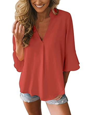 bc0f377cb8c GRAPENT Women s Casual 3 4 Bell Sleeve V Neck Loose Chiffon Tops Blouses  Shirts at Amazon Women s Clothing store