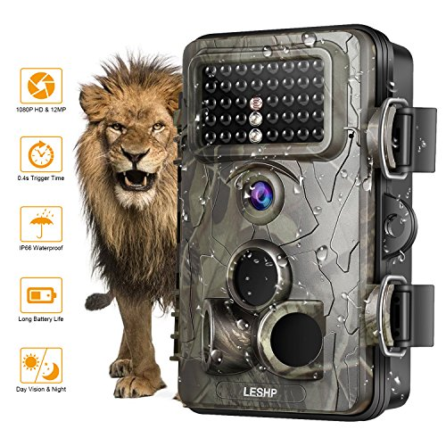 LESHP Game and Trail Camera 12MP 1080P HD With Time Lapse 65ft 120° Wide Angle Infrared Night Vision 42pcs IR LEDs Waterproof IP66 2.4