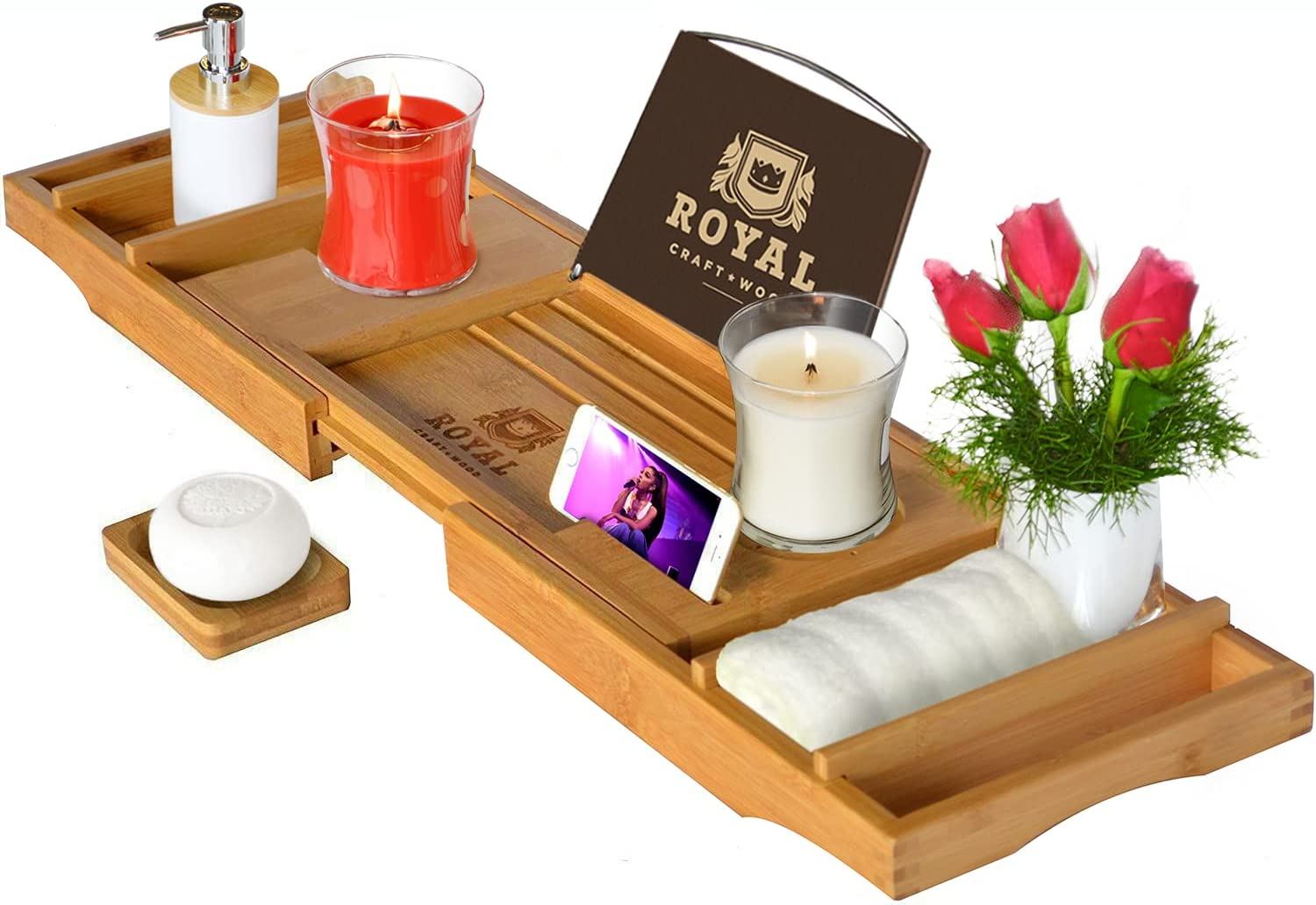 ROYAL CRAFT WOOD Luxury Bathtub Caddy Tray, One or Two Person Bath and Bed Tray, Bonus Free Soap Holder (Natural): Home & Kitchen