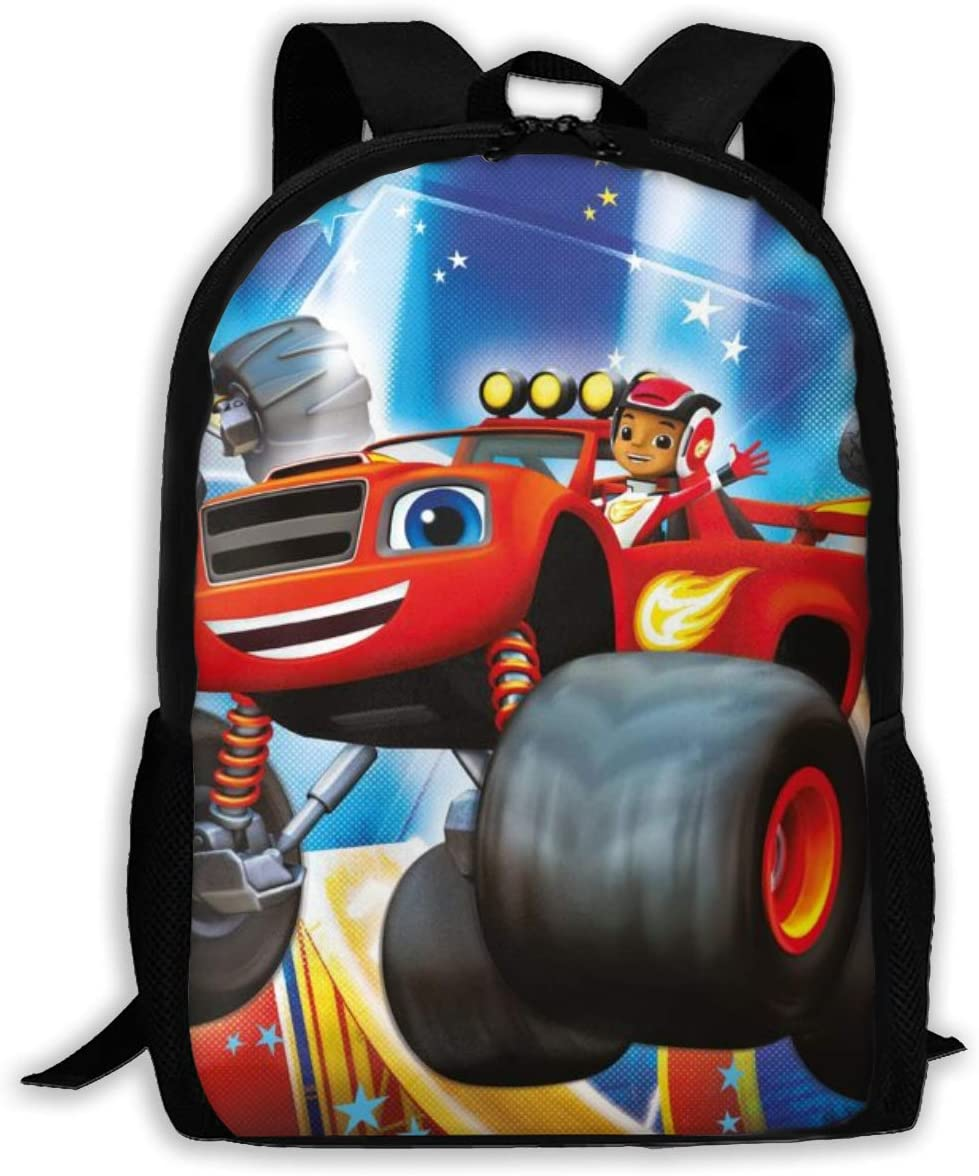 Blaze and The Mon-Ster Mach-INES Large Backpack 15 Inch Polyester College Student Bookbag for Boys Girls Men Women