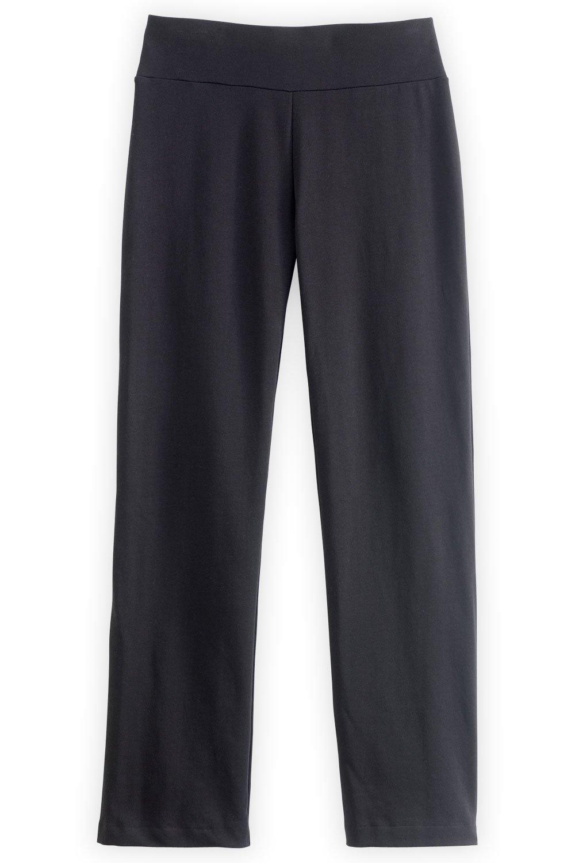 Fair Indigo Fair Trade Organic Straight Leg Knit Pants (XL, Black) by Fair Indigo
