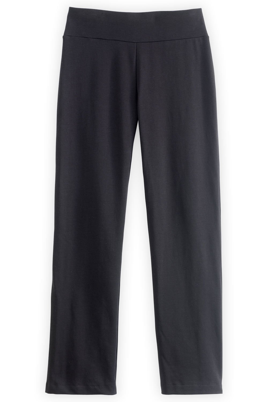 Fair Indigo Fair Trade Organic Straight Leg Knit Pants (XS, Black)