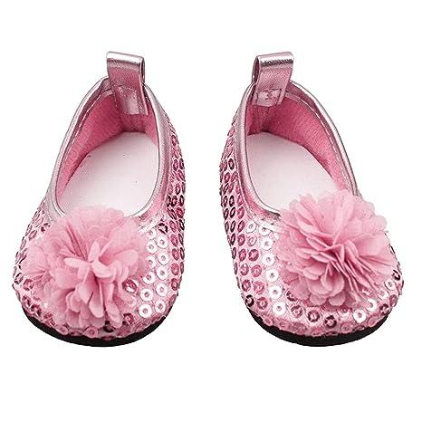 36308aa322c Zapatos de muñeca con Purpurina Flores Vestido de Zapato para 18 Pulgadas  Nuestra generación Chica Muñeca