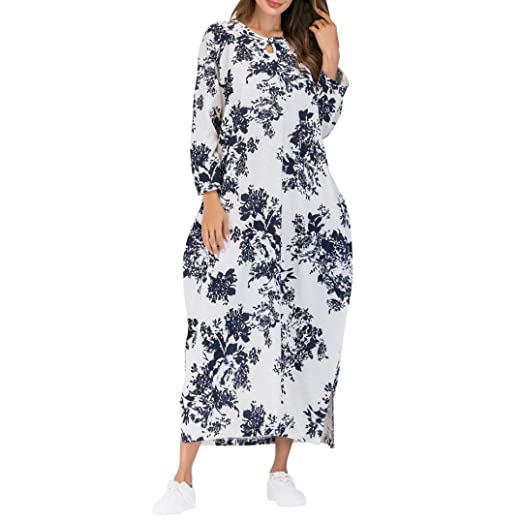 2110e9f51a Wobuoke Women s Long Sleeve Elegant Cotton Linen Vintage Loose Boho Split  Floral Print Long Maxi Dress with Pockets at Amazon Women s Clothing store