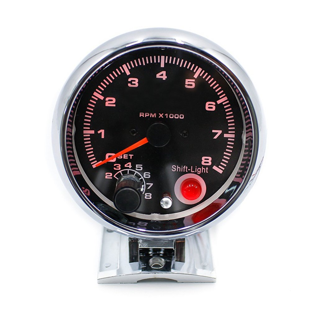 Auto Universal Digital Pointer Tachometer GOGOLO 0-8000RPM Gauge with 7-Color Adjustable LED Display Rotate Speed Meter Fit for 4//6//8 Cylinder 12V Gasoline Cars