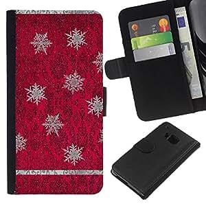 [Neutron-Star] Modelo colorido cuero de la carpeta del tirón del caso cubierta piel Holster Funda protecció Para HTC One M9 [Rojo púrpura del papel pintado de la vendimia]