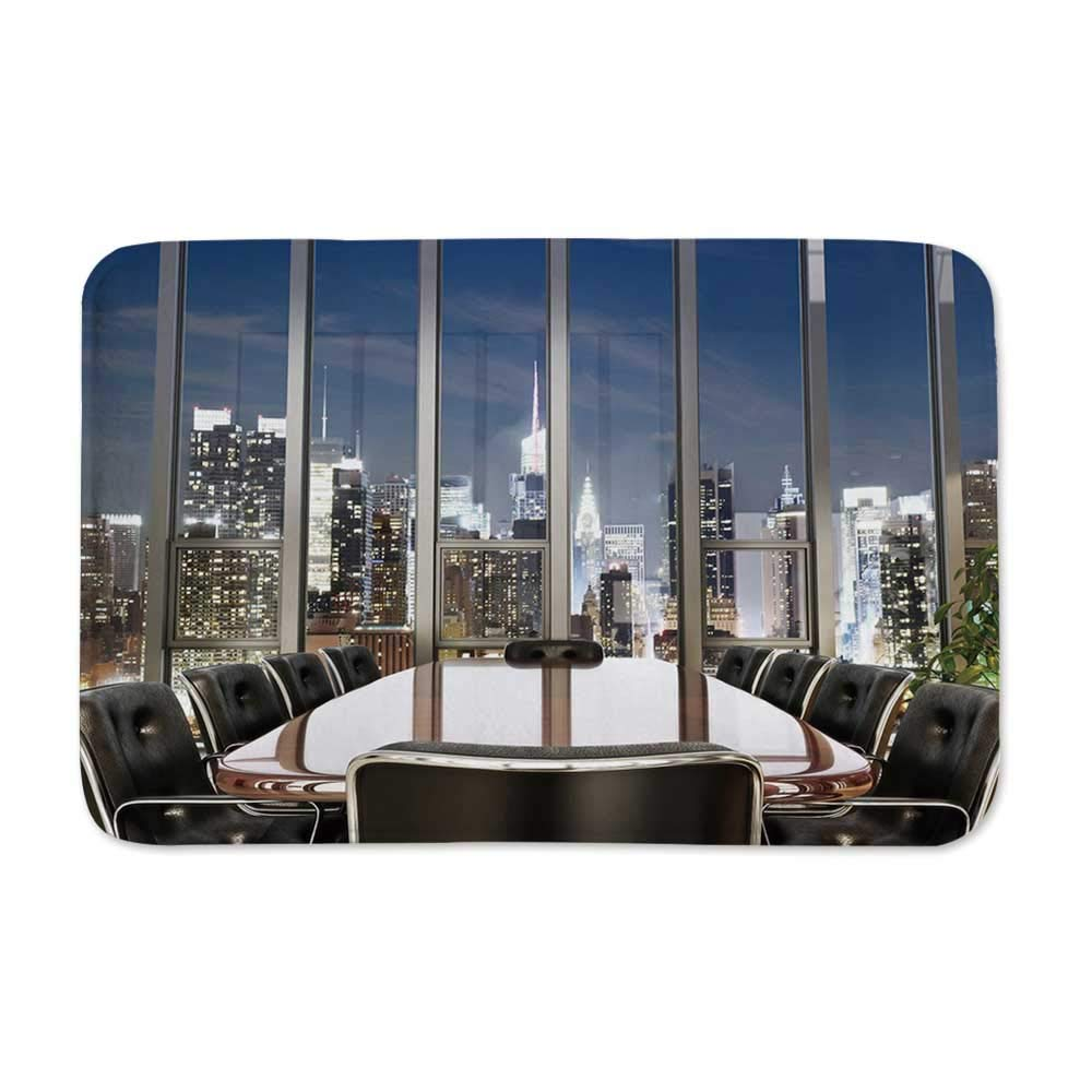 YOLIYANA Modern Decor Door Mat Rug,Business Office Conference Room Table Chairs City View at Dusk Realistic for Kitchen Bathroom Outdoor,23'' L x 15'' W