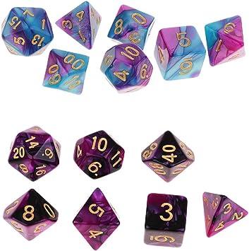 B Blesiya 14pcs Dados de Número para Juego de rol Juegos de Tablero Digital Dice D4-D20: Amazon.es: Juguetes y juegos
