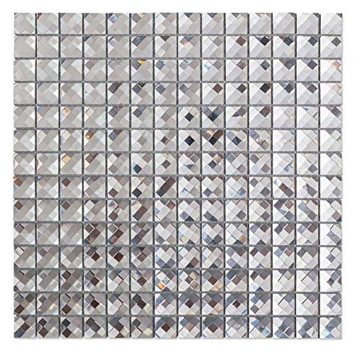Crystal Mosaic Glass - Diflart Mirror Glass Mosaic Tile Crystal Diamond Mosaic Tile 3/4 inch Pack of 5(Silver)
