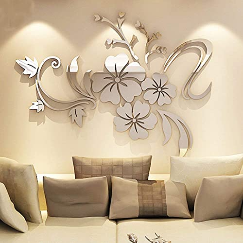 Alicemall 3D Mirror Flower Wall Sticker Art Removable Acrylic Mural Decal Wall Sofa Home Room Decor Silver color (silver)