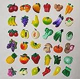 URTop 36 Pcs Resin Fridge Magnets Mini Lovely Fruits Vegetables...