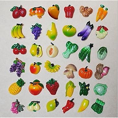URTop 36 Pcs Resin Fridge Magnets Mini Lovely Fruits Vegetables Decorative Board Magnetic Stickers Fridge Decors Mix Style