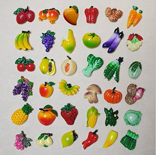 (URTop 36 Pcs Resin Fridge Magnets Mini Lovely Fruits Vegetables Decorative Board Magnetic Stickers Fridge Decors Mix Style)