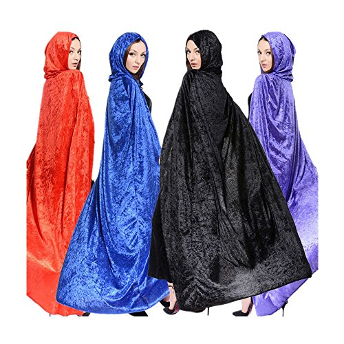 Womens Halloween Witch Velvet Hooded Cloak Costumes Wizard Party Cape Cosplay (Womens Halloween Costumes Black)
