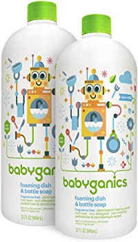 2-Pack Babyganics Foaming 32oz Dish and Bottle Soap Refill