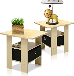 Furinno End Table Bedroom Night Stand, Petite, Steam Beech, Set of 2