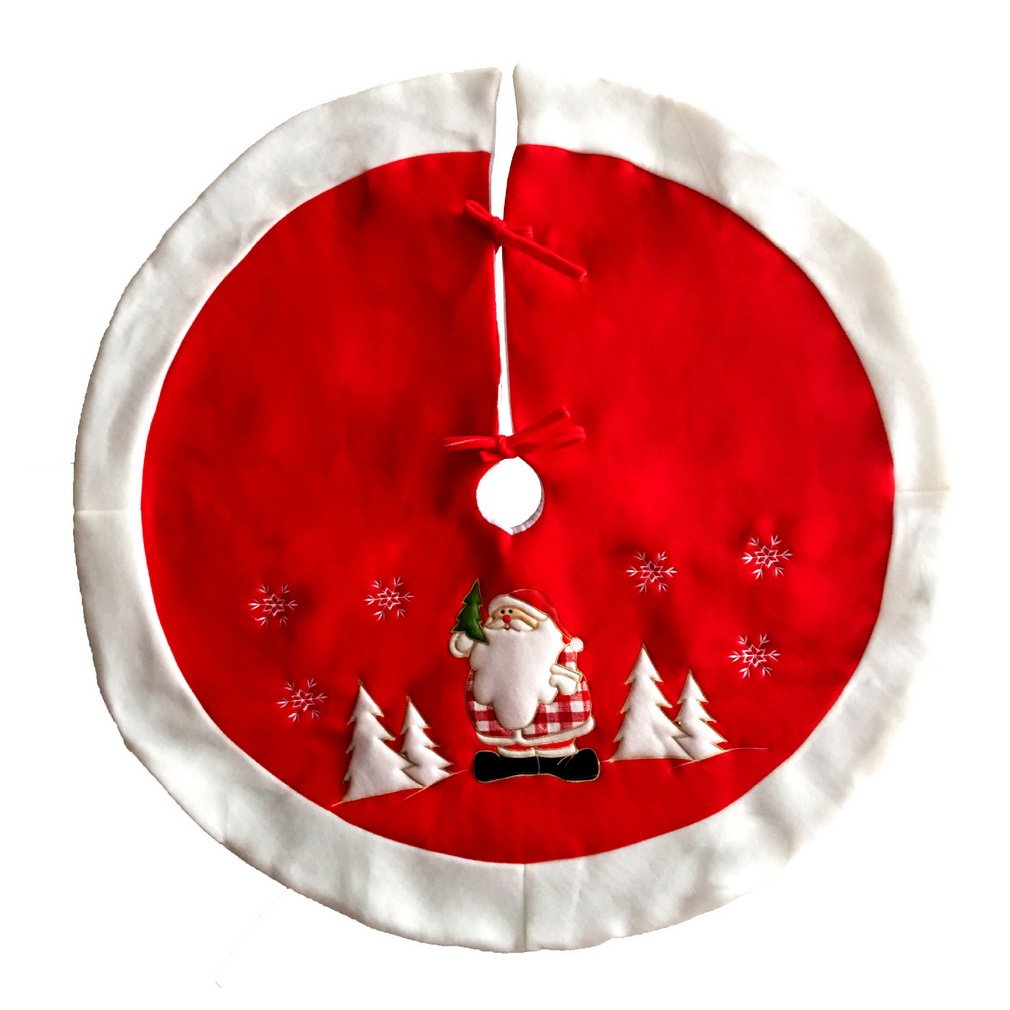 COMVIP Christmas Tree Skirt Apron Accessories Holiday Home Decoration Red