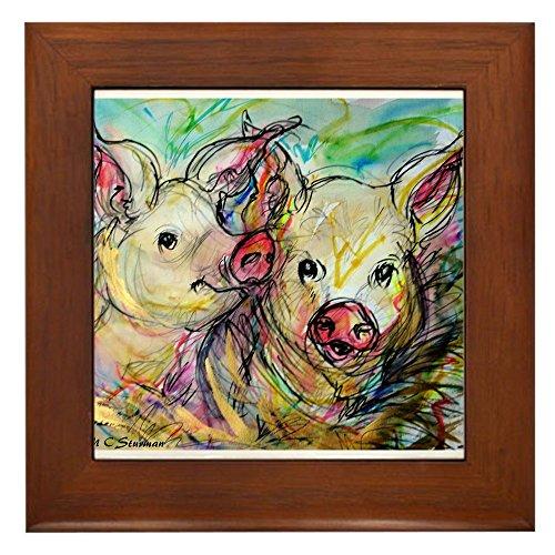 - CafePress - Piglets, Pig Pair - Framed Tile, Decorative Tile Wall Hanging