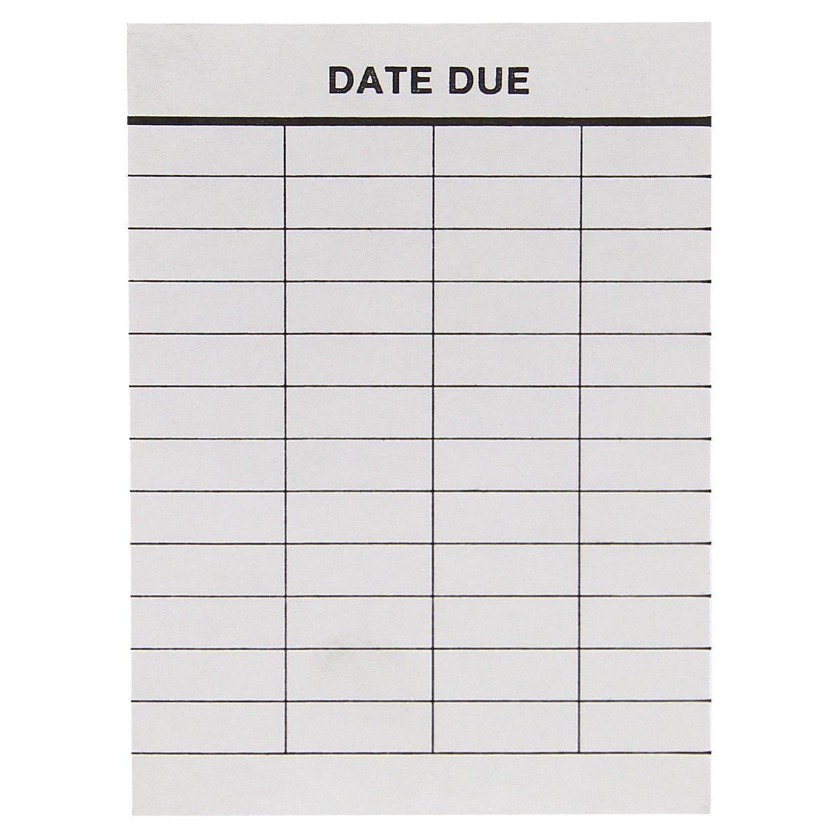 Date Due Slips For High Back Book Pockets - 4 Columns - 3 3/4''H x 2 3/4W'' - Full Removable Adhesive - 500pk