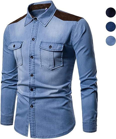 X&Armanis Camisa Casual para Hombre, Camisa de Bolsillo con Panel de Mezclilla de algodón Camiseta de Manga Larga con Solapa (Otoño): Amazon.es: Deportes y aire libre