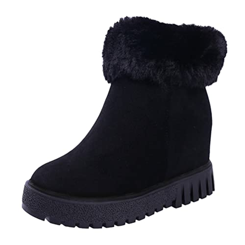 9d4bd8731b07d Jitong Mujer Botines de Ante con Cuña Calentar Forrado Piel Sintética  Zapatos con Cremallera Tacones Altos Botas de Nieve Cortas  Amazon.es   Zapatos y ...