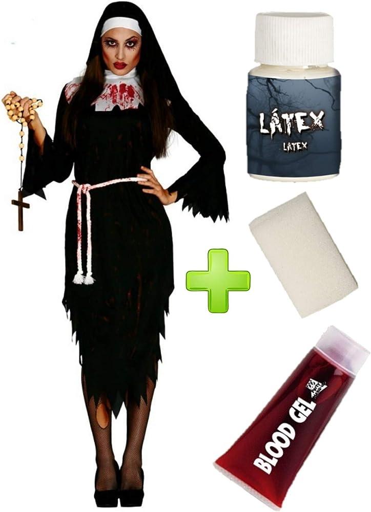 Disfraz de Monja Zombie con set de caracterizacion: Amazon.es ...