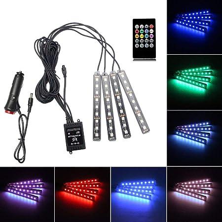 MHUI Coche Conducido Luces De Tira 36 LED RGB 12V del Coche LED para Los Pies De Las Luces Interiores del Coche Multicolor De Luces De Ne/ón Ambiente del Multicolor