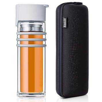 ROMAUNT Botella de Té de Cristal con Infusor Filtro,Taza de Vidrio y Cantimplora de