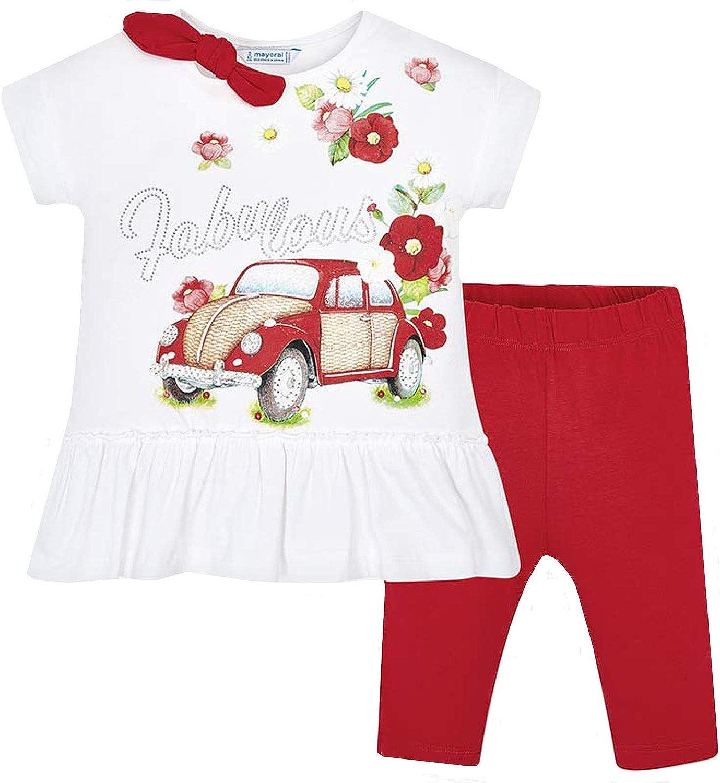 M/ädchen Set T-Shirt Leggins Mayoral 3.509 wei/ß rot Blumen Auto