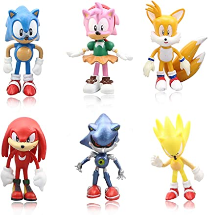 Amazon Com Lebery Sonic The Hedgehog Cake Toppers 6pcs Sonic Birthday Cake Topper Cupcake Topper Children Cartoon Characters Figures Toy Sonic Cake Decoration For Kids Birthday Baby Shower Sonic Theme Party Toys