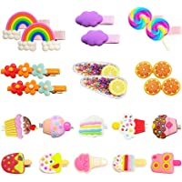 Baby Hair Clips for Girls, 22Pcs Adorable Fun Hair Accessories Cute Candy Color Rainbow Flower Fruit Dessert Patterns…