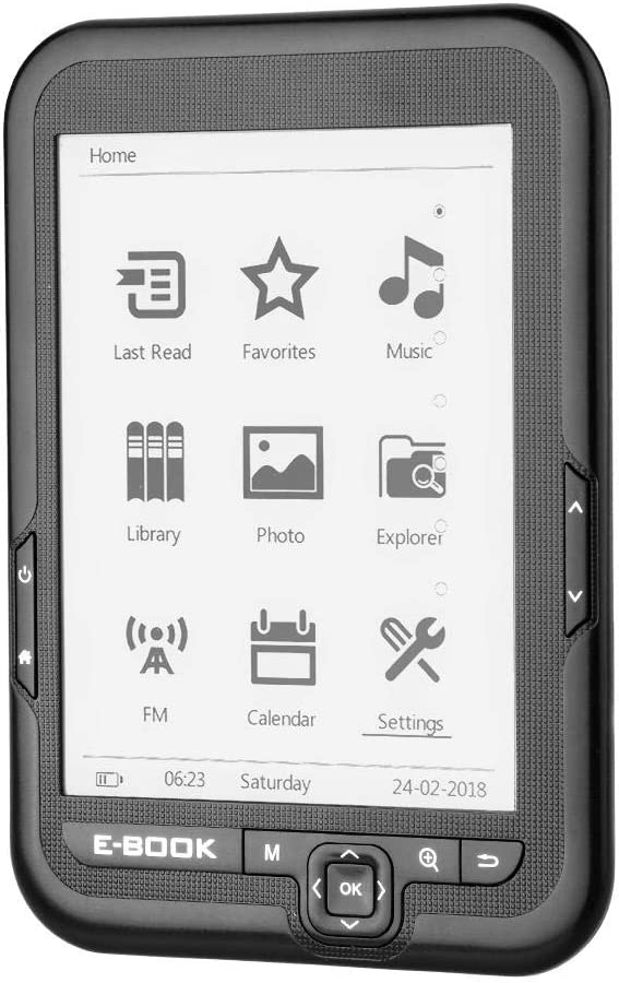 E-Reader, Portátil 6 Pulgadas USB2.0 E-book Lector de Libros Electrónicos Lectura Digital Libros Radio FM Incorporada/Función Grabación/MP3 WAV/Fotos Soporte Tarjeta TF 32GB, 29 Idiomas(Gris 8GB)