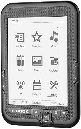 E-Reader, Portátil 6 Pulgadas USB2.0 E-book Lector de Libros Electrónicos Lectura Digital Libros Radio FM Incorporada/Función Grabación/MP3 WAV/Fotos Soporte Tarjeta TF 32GB, 29 Idiomas(Gris 4GB): Amazon.es: Hogar