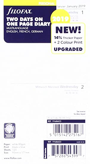 Filofax 19-68423 Personal Two Days Per Page Three Language 2019 Diary