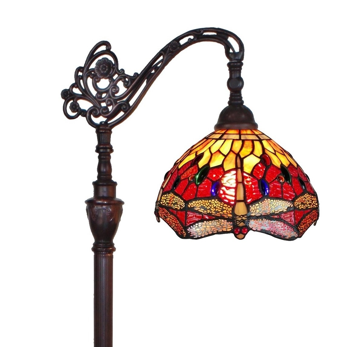 Amora Lighting AM079FL10 Tiffany Style Dragonfly Reading Floor Lamp 62 In