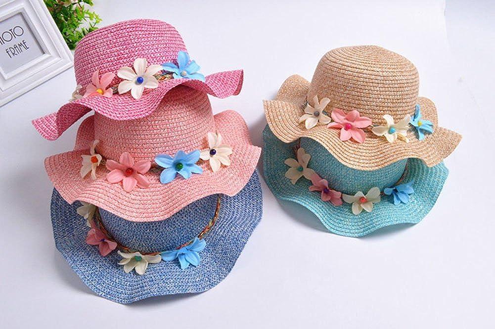 Freedi Sun Straw Hat Toddler Baby Girls Large Wide Brim Travel Beach Beanie Cowboy Cap Cute