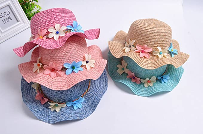 Amazon.com: jingyuu Khaki Straw Hat WIHT Wide Brim Flower Bucket Hat Outdoor Sun Protection Packable Beach Hat for Kids: Clothing