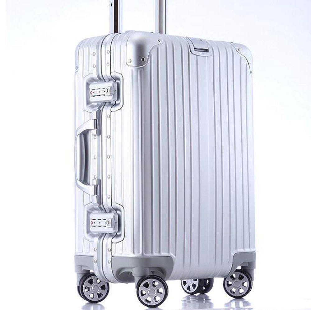 cas-07 TSAロック搭載 スーツケース アルミ製 キャリーバッグ 旅行必須品 トランク 20インチ シルバー B06XSVSXWD