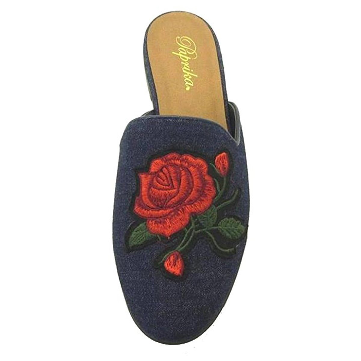 Paprika Women's Embroidered Floral Slip On Mule Loafer Slipper Flats (5.5 B(M) US, Dark Blue)