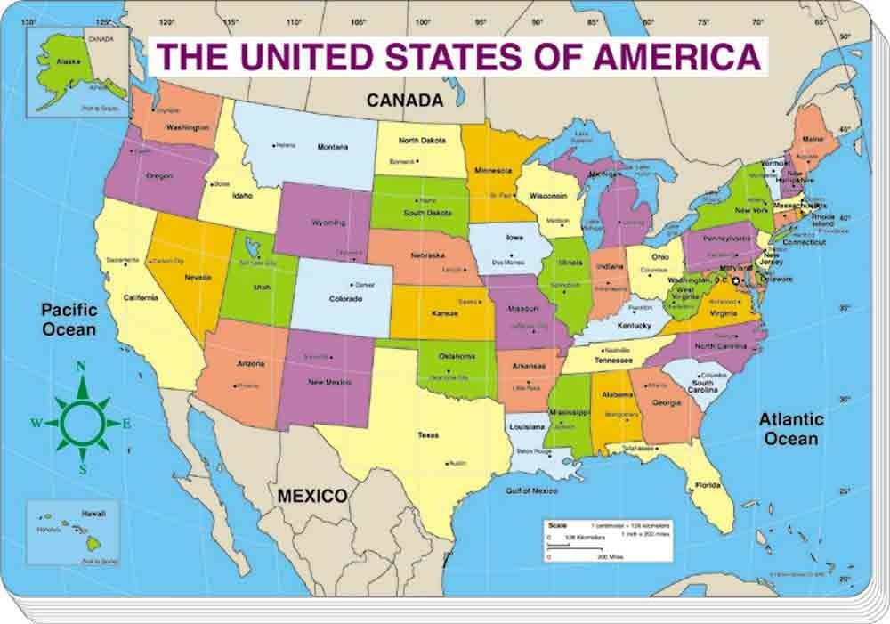 Map Of The Us Labeled Amazon.: Carson Dellosa Us Map (colored and labeled) : Office