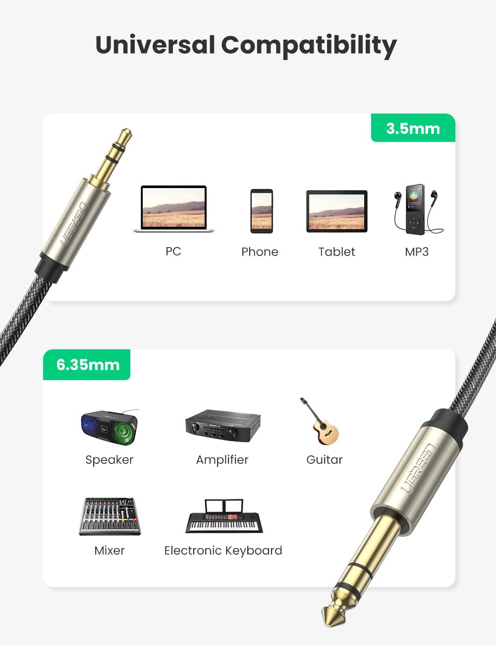 Amplifiers UGREEN 6.35mm 1//4 Male to 3.5mm 1//8 Male TRS Stereo Audio Cable with Zinc Alloy Housing and Nylon Braid Compatible for iPod Laptop,Home Theater Devices 6FT