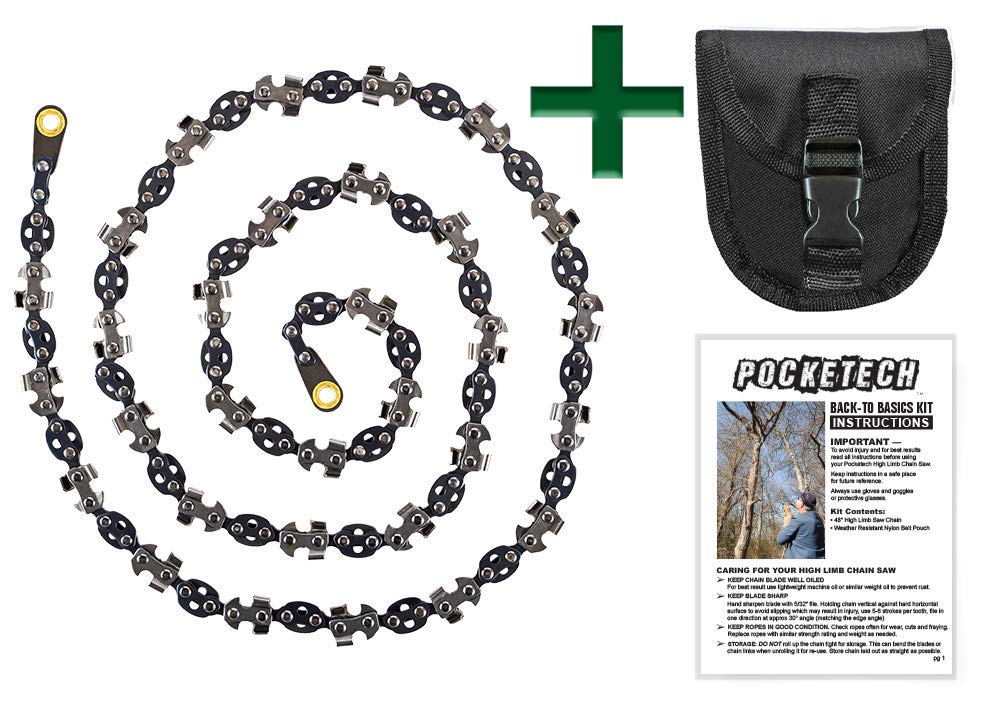 Pocketech Back-to-Basics Kit: 48 Inch-High Limb Hand Chain Saw & Pouch - Blades on Both Sides so it Doesn't Matter How It Lands - Upgraded with 50% More Blades Cut in Both Directions & on Both Sides